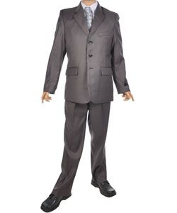 This Kids World suit delivers a sophisticated look that's sure to impress at his next special event. The sleek gray exterior is as classic as it gets. Suit includes:     Jacket: single-breasted, silky lining, flap pockets, welt chest pocket. (100% Polyester)  Vest: welt pockets, silky backing with adjustment strap. (100% Polyester)  Pants: pleated, creased, pre-hemmed, angled on-seam front pockets, welt back pockets. (100% Polyester)  Dress Shirt: fine woven blend, chest pocket. (65% ...