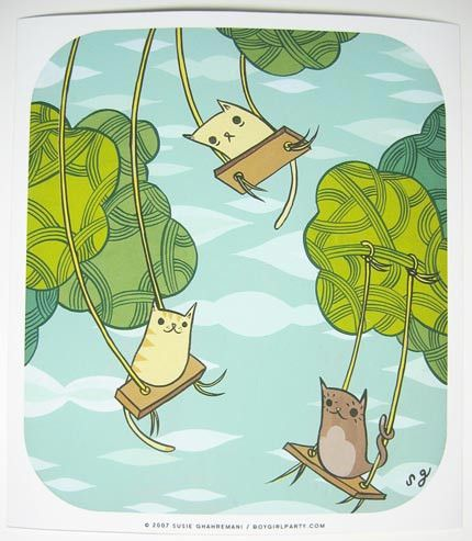 Swinging Cats Art Print (Signed)