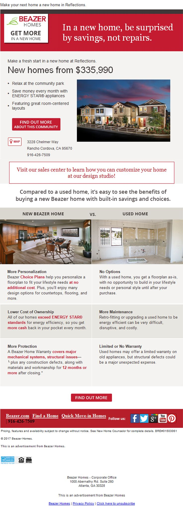 New Homes for Sale in Rancho Cordova, California  Why buy used when you can buy NEW?  Reflections in Capital Village… More personalization, Lowe Cost of Ownership, More Protections with the Beazer Home Warranty!    https://www.beazer.com/sacramento-CA/reflections-at-capital-village