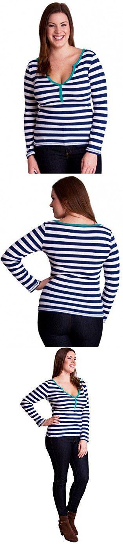 Royal Blue White Ladies Plus Size Striped Ribbed 4 Button Henley Shirt