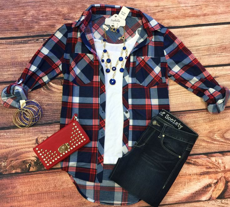 What I like about you Plaid Flannel Top: Red/Blue from privityboutique