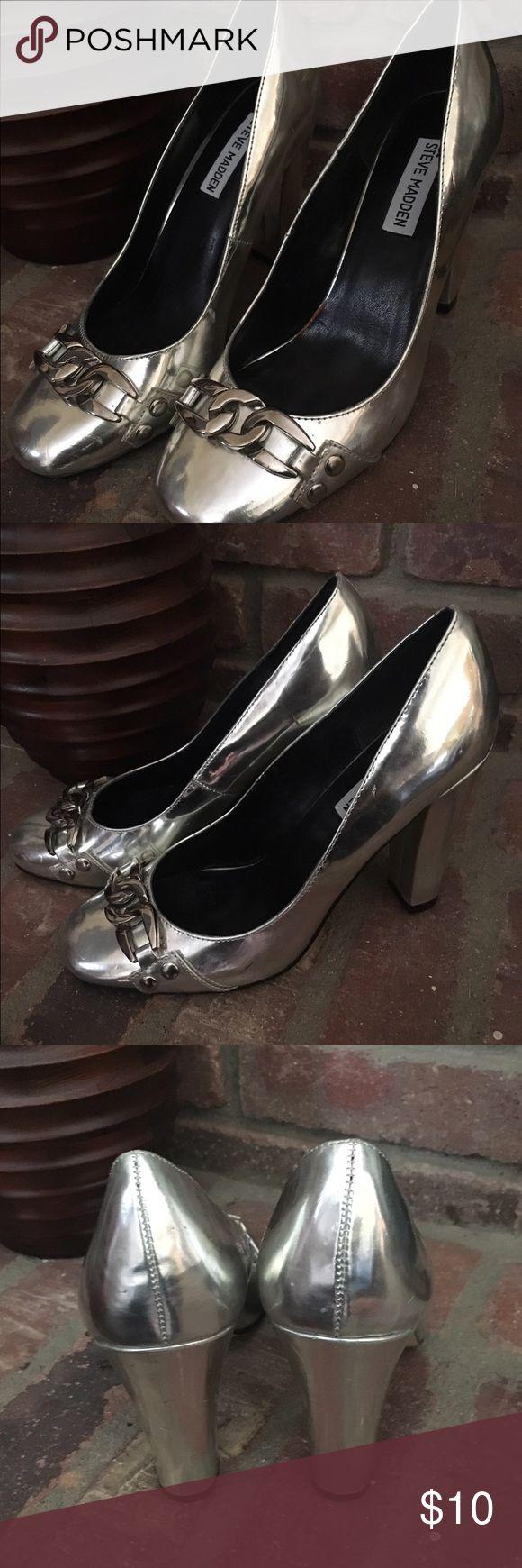 Silver Steve Madden Pumps Beautiful blocked heeled pumps.  Super cute and super on trend. Steve Madden Shoes Heels