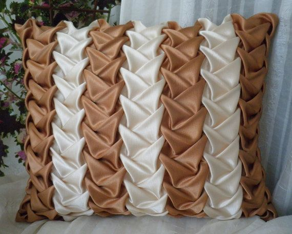Decorative Smock Cushion Beige Striped Pillow,Brown Throw Pillow,Striped Pillow,Beige Cushion,Brown Beige Pillow,Room decor ideas 16x20 inch