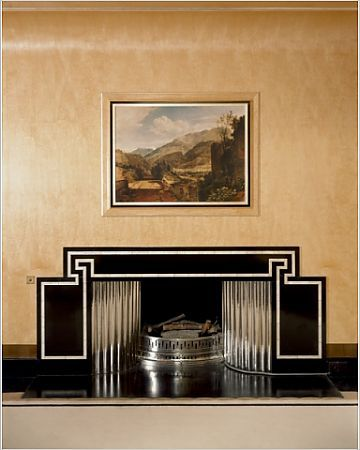 ELTHAM PALACE, Greenwich, London. Interior view. The Dining Room fireplace..