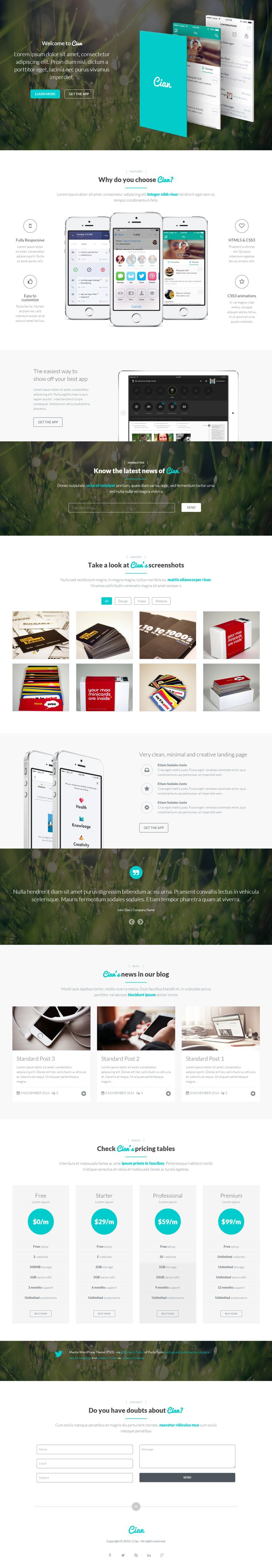 Cian is Premium Responsive Retina Parallax WordPress Landing Page Theme. MailChimp. Bootstrap Framework. Video Background. http://www.responsivemiracle.com/cms/cian-premium-responsive-app-landing-page-wordpress-theme/
