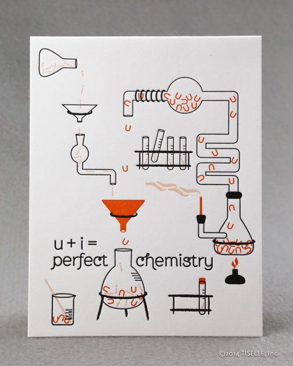 Letterpress Love Card uiperfect chemistry by TISELLE on Etsy, $5.00