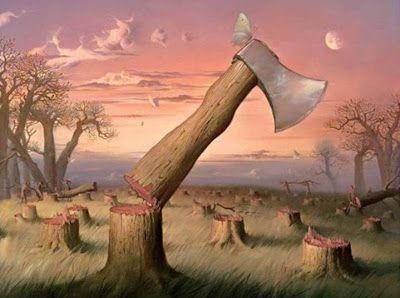Um lenhador foi até a floresta pedir às árvores que lhe dessem um cabo para seu machado. As árvores acharam que não custava nada atender...
