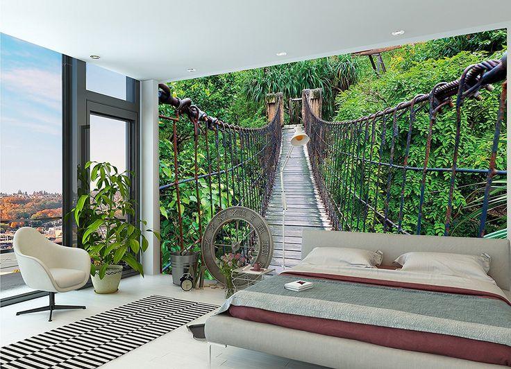 Tapiz de foto Puente colgante Mural Decoración Jungla Paisaje Naturaleza Adventure Puente Selva tropical Arbusto Trópicos Selva Puente de madera I foto-mural foto póster deco pared by GREAT ART (336 x 238 cm)