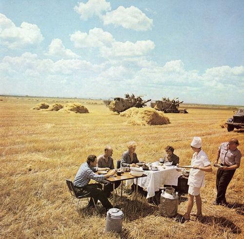 """semioticapocalypse:    Lunch in """"Kommunar"""" collective farm (kolkhoz), Ussurisky region, 1970s"""