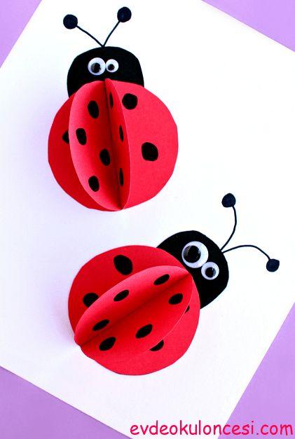 3 Boyutlu Uğur Böceği yapımı çok kolay olduğundan çocuklar için güzel bir etkinlik.