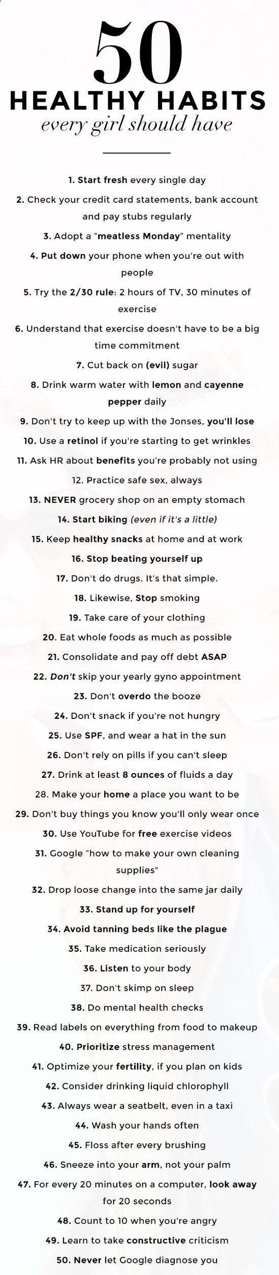 50 healthy habits