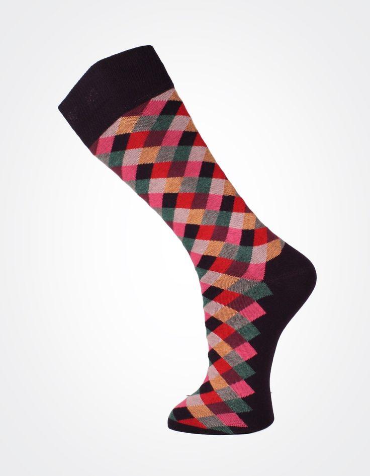 Effio herensokken - check712 - bordeaux rode geruite socks