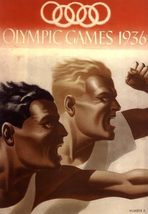 1936 OLYMPIC SPORT TRACK + FIELD BLACK RUNNER JESSIE OWENS ART DECO POSTER 31609