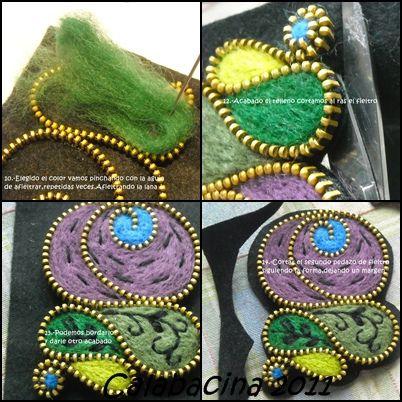 ...despues de cortar la tela a la cremallera se pueden hacer broches como este, rellenandolo con fieltro...