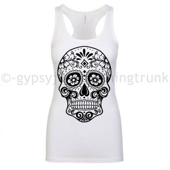 Sugar Skull Shirt  Day of the Dead Tank Top  by GypsyJunkClothing