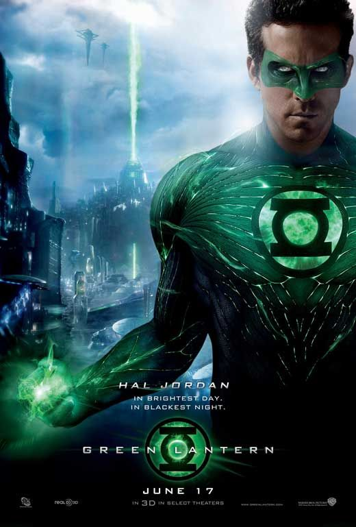 Green Lantern, released in 2011 starring Ryan Reynolds. This film was pretty good.  I had hoped to see a sequel, not bad like the press it got.  I hope before they reboot, we get to see a Justice League film!