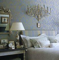 luxe damask wallpaper in bedroom from elle decor. Interior Design Ideas. Home Design Ideas