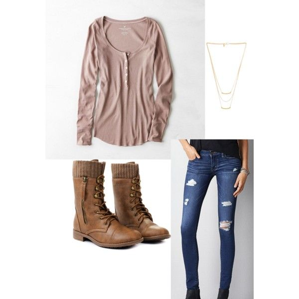 A fashion look from March 2015 featuring American Eagle Outfitters tops, American Eagle Outfitters jeans and Gorjana necklaces. Browse and shop related looks.