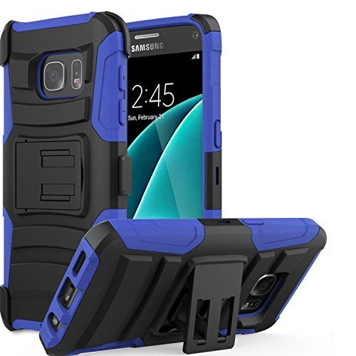 Buy Samsung Galaxy S7 SM-G930 Tactical Armor Work Case Heavy Duty Shock Impact Protection Dual Layers with built-in Kickstand and Belt Clip Holster [SlickGearsTM] (Blue) NEW for 9.99 USD | Reusell