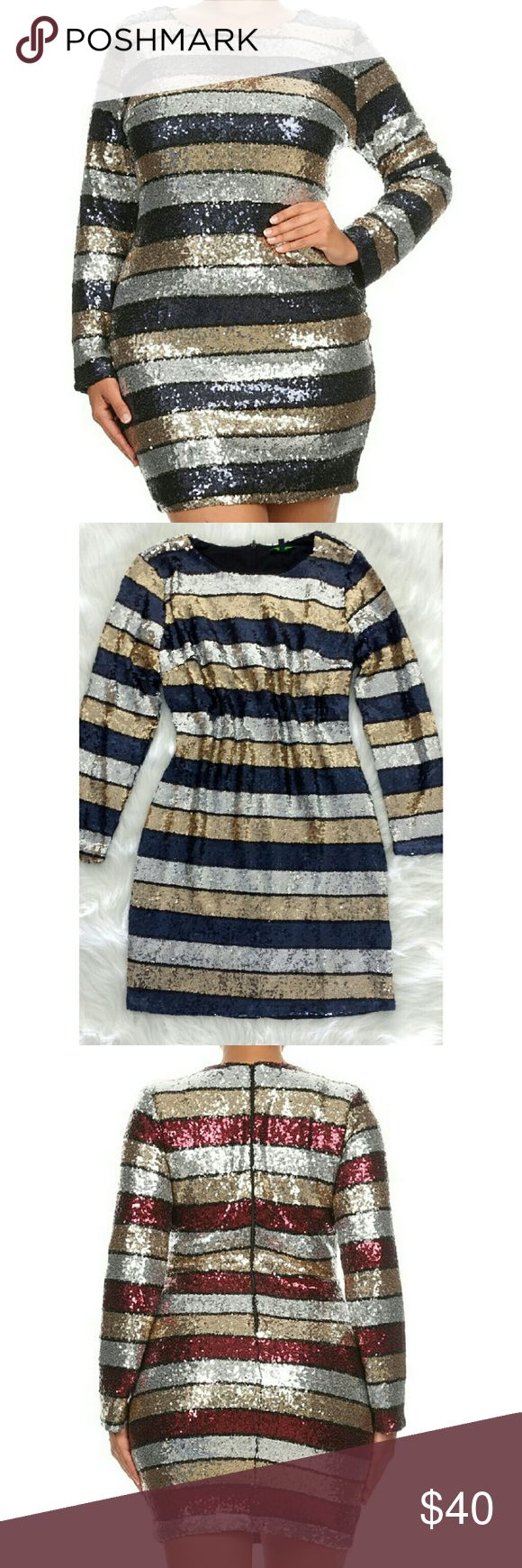 Plus Size Sequin Dress Brand new without tag. Polyester/Spandex  Plus size sequin long sleeves. Center back zipper very good material. Multiple colors:navy blue/silver/gold/some black Dresses