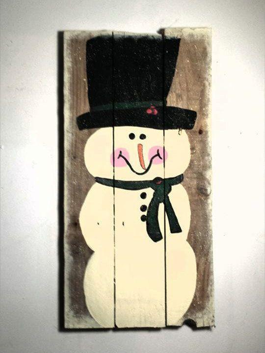 Primitive Country Snowman Winter Pallet by TheWheelPrespective