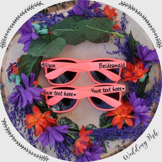 Custom Coral Bridal Party Sunglasses by weddingposh on Etsy