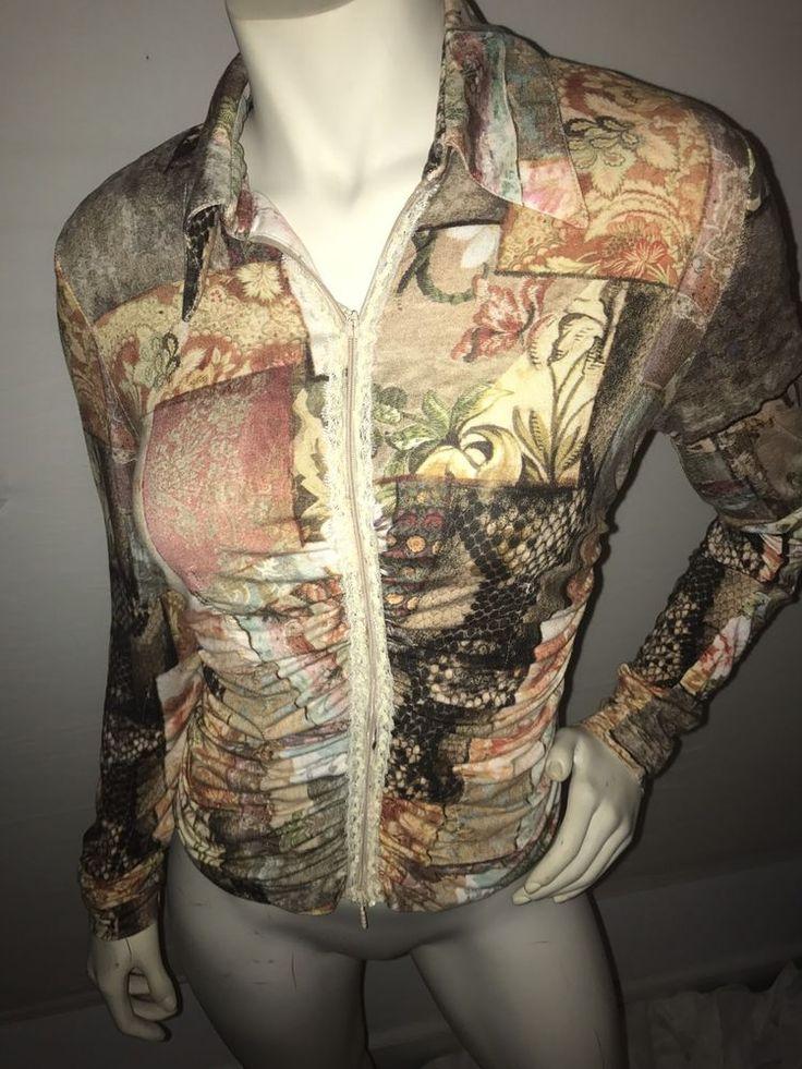 Alberto Makali Women's Long Sleeve Blouse Multi Colored Shirt Zip Up Collar M    eBay