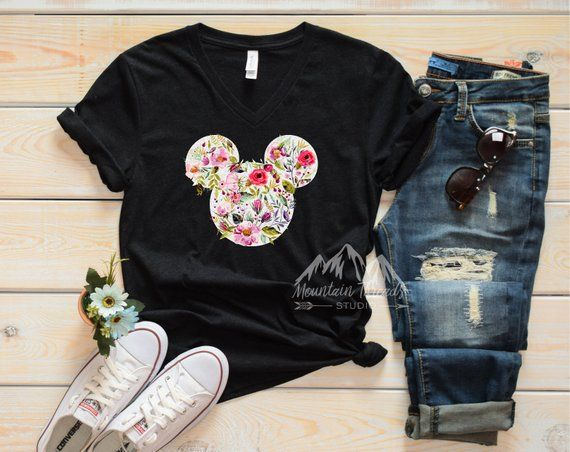 Fast Shipping V Neck Black Disney Shirt Watercolor Glitter Floral