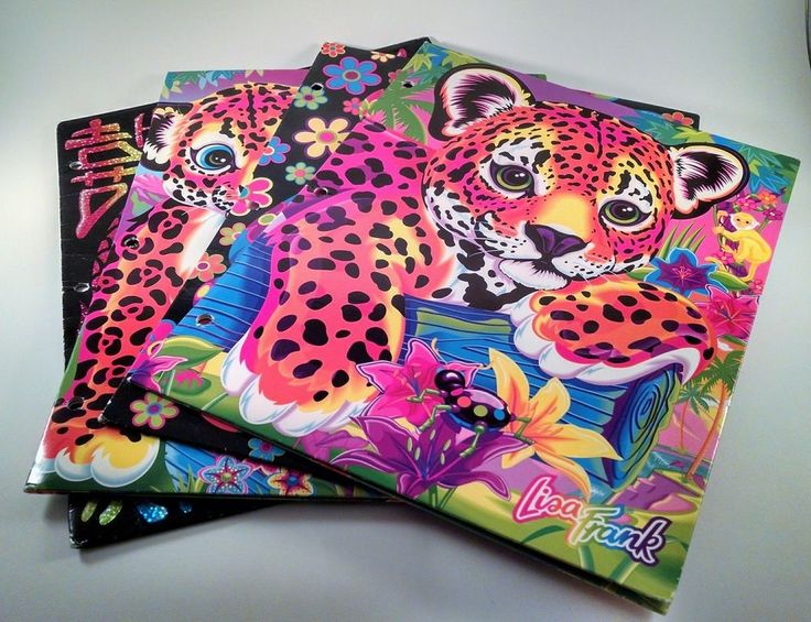 Vintage Lisa Frank Lot Of 4 3 Ring Binder Folders Good Used Condition Hunter #LisaFrank