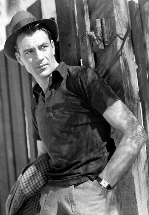 Gary Cooper; tailored sweatpants, fitted polo shirt, fedora, dress watch