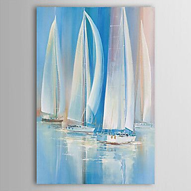 Oil Painting Landscape Sailing Boat on The Sea  Art with Stretched Frame Hand-Painted Canvas – AUD $ 69.49