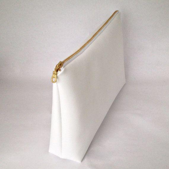 X Large White Faux Leather Makeup Bag Pencil Case Zipper