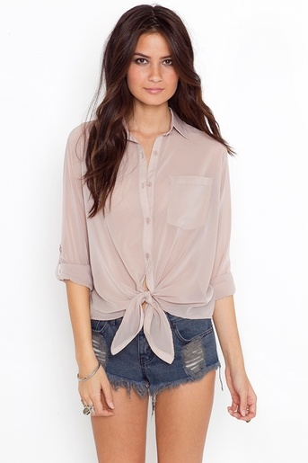 Tied Up Blouse - Nude