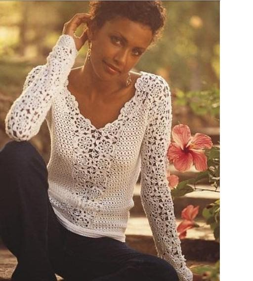 Super pretty #crochet top. Web link is to a Picasa album in Chinese. | 编织衣服2 - 卜凡 - Picasa Web Albums