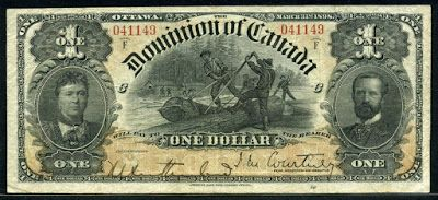 Dominion of Canada paper money - one Dollar banknote of 1898, Countess and Earl of Aberdeen.