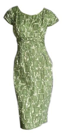 The wiggle dress was a 1950s classic. This atomic-print version is made out of lightweight Celanese acetate and features a pattern of abstracted squares.