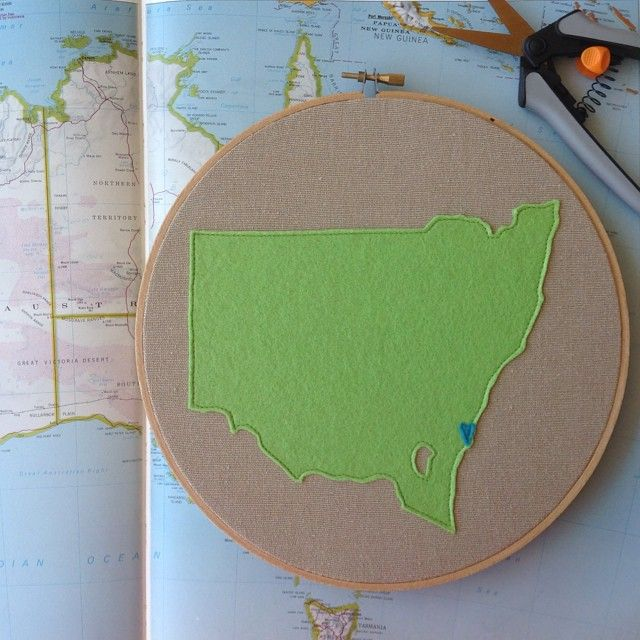 State Love. New South Wales, Australia. Embroidery Hoop. Handmade by Melliemakes.