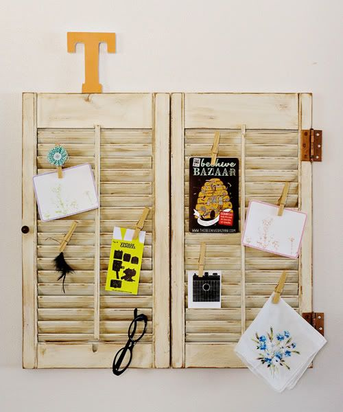 "might do this in my ""school/craft"" room instead of a cork board: Ideas, Old Shutters, Repurpo Shutters, Bulletin Boards, Wall Display, Old Window Shutters, Diy, Display Boards, Shutters Wall"