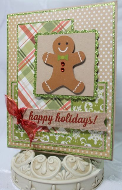 not this complicated, but, i like the idea of a gingerbread person on a happy holidays card, because i'll be giving gingerbread with it!