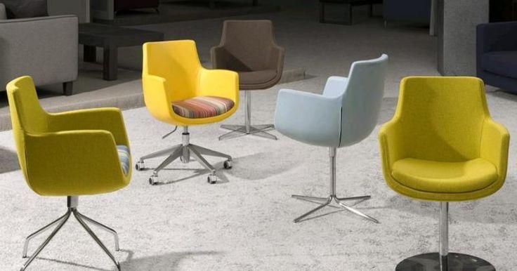 Unieke en fraaie design stoel Annabelle van l'Ancora met keuze uit een kruispoot, spinpoot, draaiplateau of op wielen. In diverse ledersoorten en stoffen