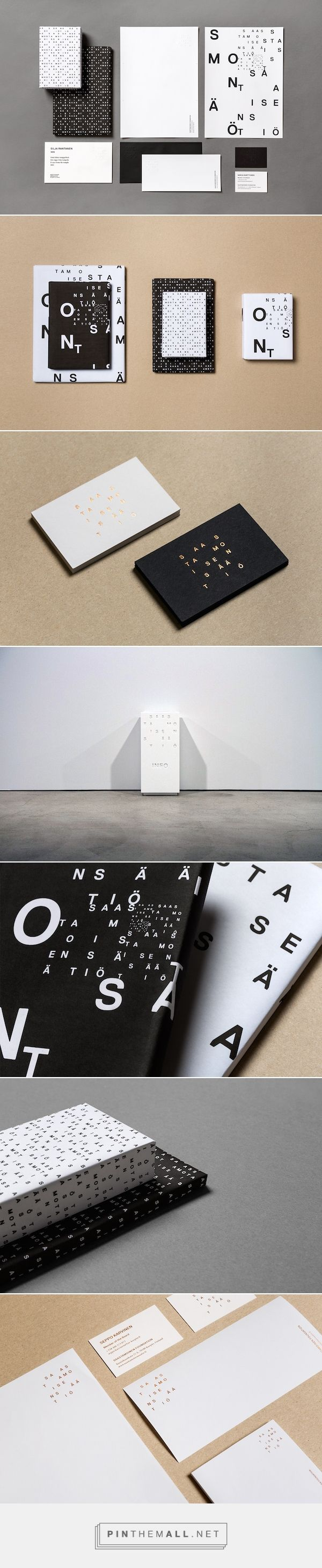 """Helsinki-based designer Tony Eräpuro and design consultancy Kuudes Kerros has teamed up to create a stylish and sophisticated branding for the Saastamoinen Foundation Art Collection, which is """"one of the most significant private collections in Finland"""".  Read more: http://designtaxi.com/news/379132/A-Sophisticated-Typographic-Branding-Identity-For-A-Scandinavian-Art-Museum/#ixzz3k4zHLYPQ"""