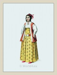 Ottoman Empire Costume. Constantinople Traditional Turkish woman clothing