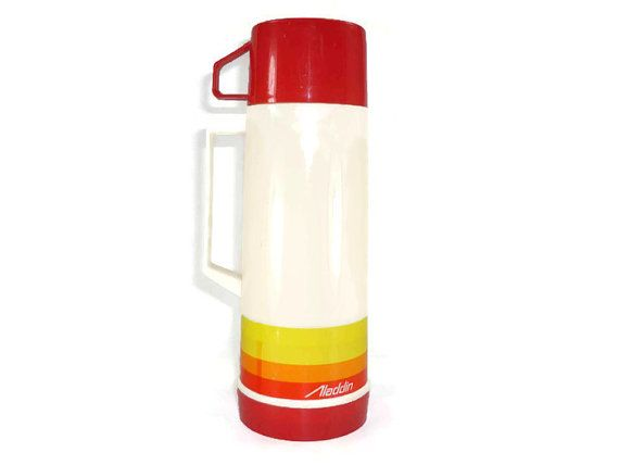 1970s Aladdin Thermos Red Orange Yellow Striped by ChromaticWit