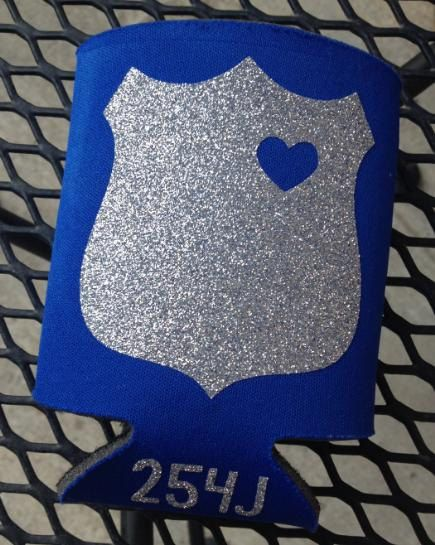 Police Officer Wife koozie with cut out heart by BOWSandBADGES, $10.00