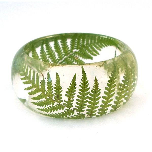 Pressed Fern Bangle - Chunky Resin Bangle. Handmade Botanical Resin... ($49) ❤ liked on Polyvore featuring jewelry, bracelets, engraved jewellery, engraved bangle, floral jewelry, bracelets bangle and ribbon jewelry