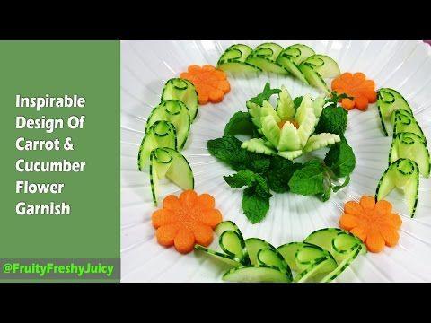 how to make cucumber flower garnish