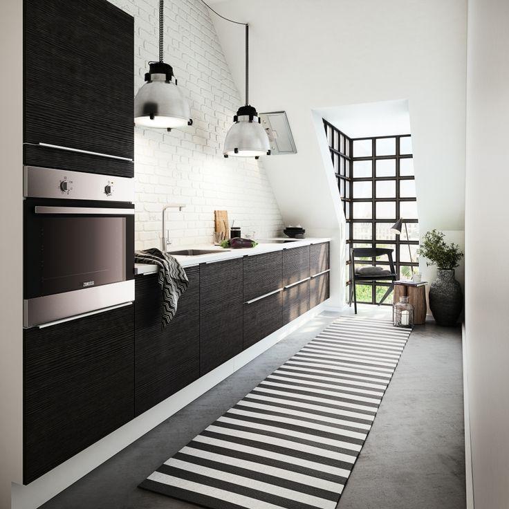 Moderne funktionelt minikøkken med enkle linjer