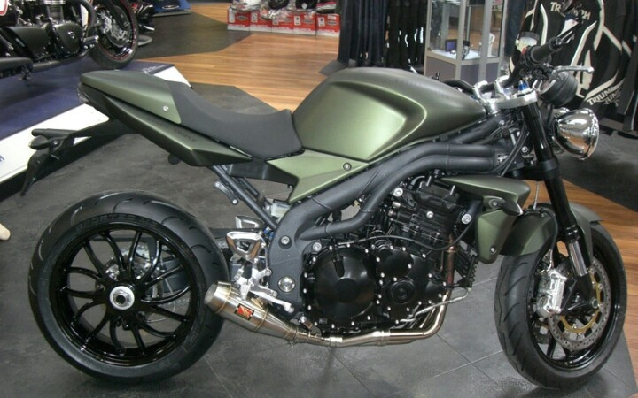 Triumph speed triple-another tough bike in OD green