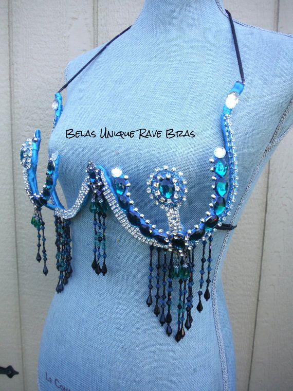 Turquoise Samba Bra Rave Bra Burlesque Bra 3236 by UniqueRaveBras