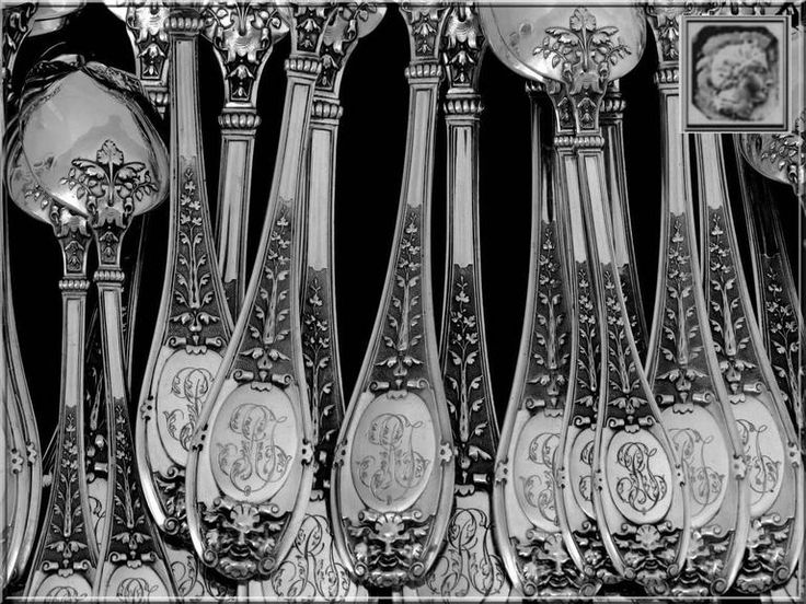 henin incredible french sterling silver flatware set of 61 pieces mascaron chest - Sterling Silver Flatware